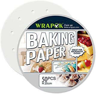 WRAPOK 10 Pouces Papier Vapeur Bambou Parchemin Rond Perforé De Lingettes En 50 Count Anti-Adhérent Pour Air Frying Baking...