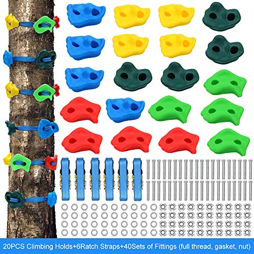 X XBEN 20 Rock Climbing Holds and 6 Ratchet Strap for Kids/Adult Climber, Build Rock Climbing Wall Grips with Mounting Hardware, Ninja Tree Climbing Kit for Indoor and Outdoor Jungle Gym Playground