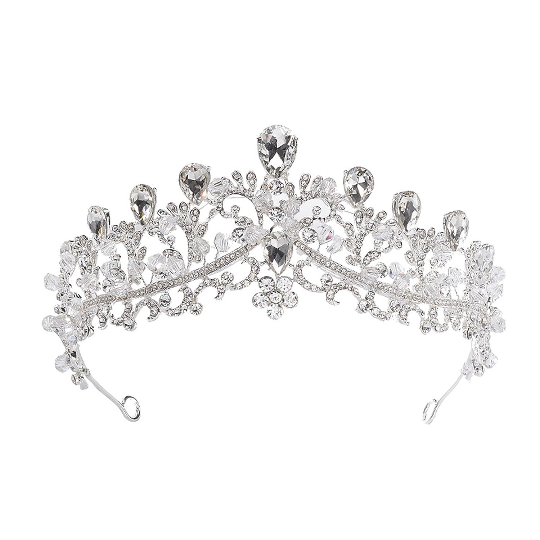SH Silver Crown for Women and Girls, Rhinestone Wedding Crown Crystal Princess Tiara Birthday Tiaras Headband Costume Pageant Prom Party Halloween Hair Accessories
