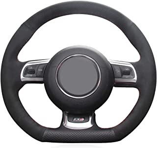 MEWANT Tailor-Made Black Genuine Leather Black Suede Customizable Steering Wheel Cover for Audi R8 2008-2010 Audi TT 2008-2015 Audi TTS 2009-2015 Audi TT RS 2012-2013 with Needles and Thread