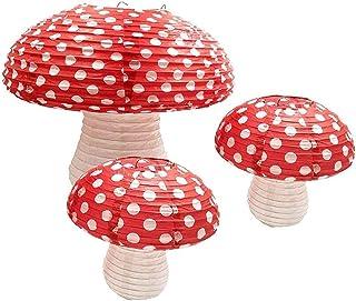 JVSISM 3Pcs Mushroom Shaped Paper Lanterns for Forest Jungle Wonderland Theme Birthday Party Decor Hanging 3D Mushroom Orn...
