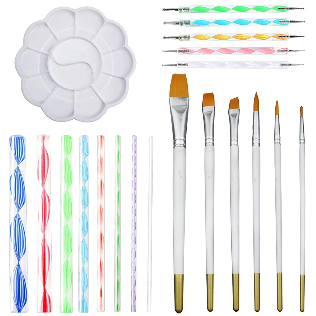 Hysagtek 20 Pcs Mandala Rock Dotting Tools Nail Art Painting Tools Set for Art Crafts - 8 x Acrylic Rods, 5 x Double Sided Dotting Pens, 6 x Mandala Painting Brush, 1 x Painting Tray