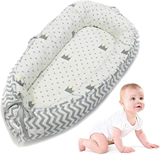 AOLVO Baby Bassinet for Bed,All in One Baby Lounger,Newborn Infant Toddler Portable Co-Sleeping Cribs & Cradles Lounger Cushion Super Soft Breathable Sleep Nest