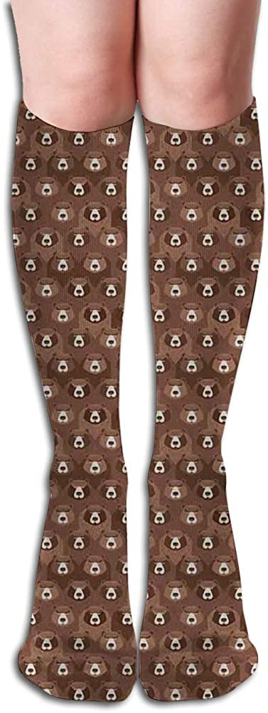 Men's and Women's Funny Casual Combed Cotton Socks,Forest Animals Concept Flock of Big Brown Angry s with Bushy Furs