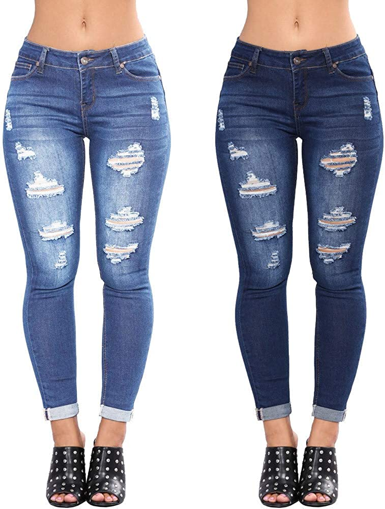 MASZONE Y2K Fashion Skinny Jeans for Women Vintage Distressed Jeans Stretch High Waisted Ripped Denim Pants Streetwear