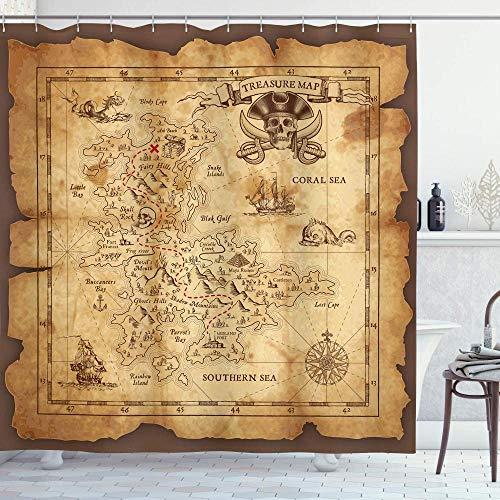 WERTY Beige Braun Insel Karte Duschvorhang Super detaillierte Schatzkarte Grungy Rustikale Piraten Gold Secret Secret History Theme-180x240cm (Size : 150x180cm)