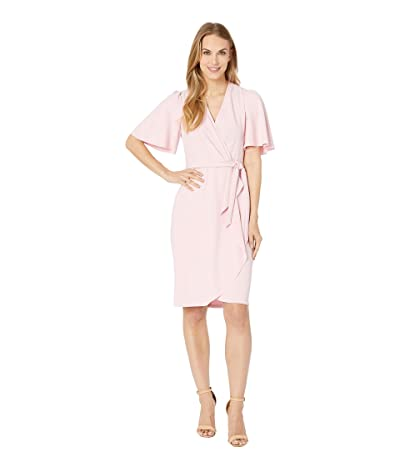 Donna Morgan Crepe Faux Wrap w/ Flutter Sleeve (Shell Pink) Women