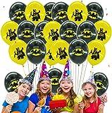 Qemsele Globos para Fiestas de Niños, 50Pcs Globos Fiesta Cumpleaños Decoración Dibujos Animados 12inch Globos de Latex con Confeti Dentro y Cintas, para Favores Regalo Carnaval Boda(Batman)