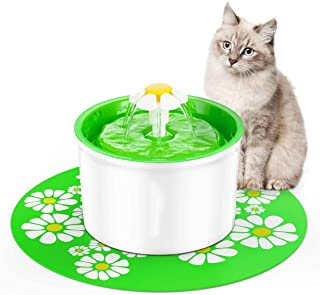 eWINNER 1.6L Flower Style Automatic Electric Pet Water Fountain Dog Cat Drinking Bowl with Corner Fit+Silicone Mat Mat (gr...