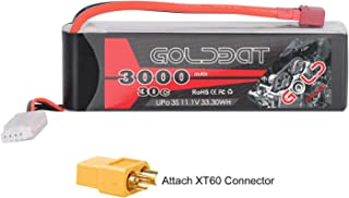 GOLDBAT 3S 11.1V 3000mAh 30C Lipo Battery with Dean-Style T Connector and XT60 Connector for RC Car Airplane Helicopter Boat Drone FPV and Quadcopter Remote Control Toys