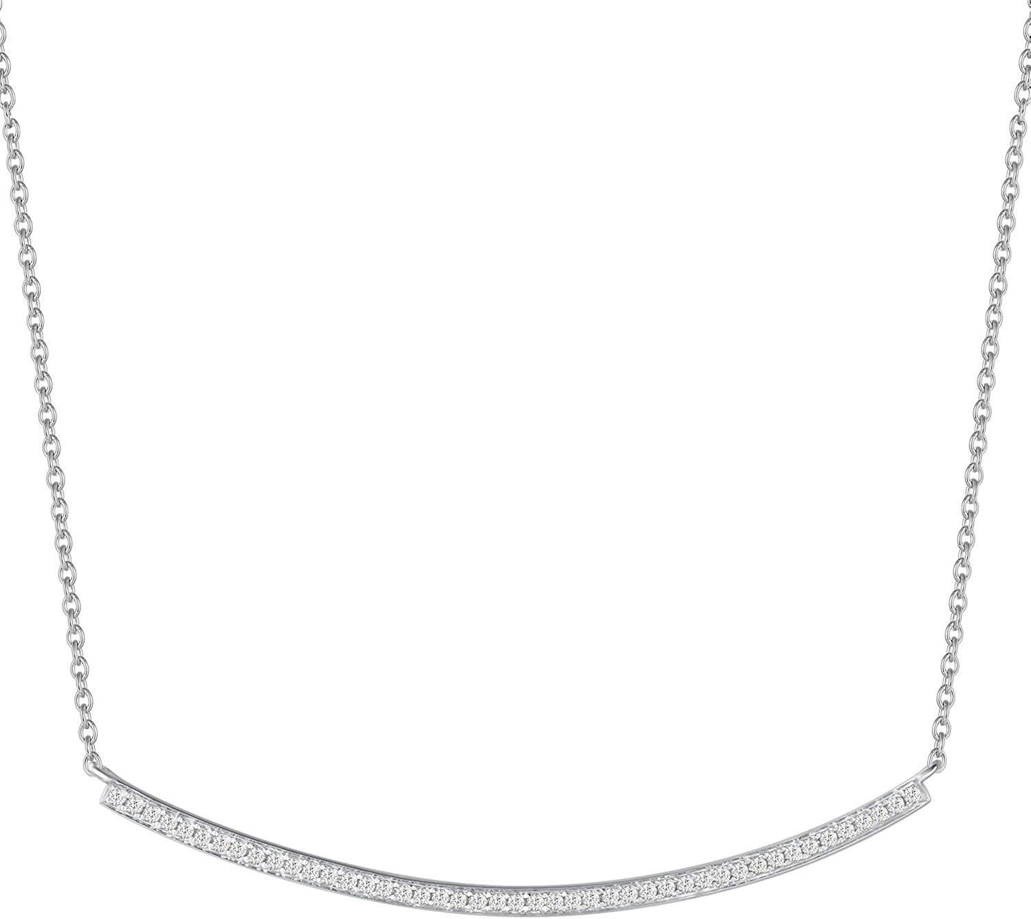 AGVANA 14K Solid White Gold Slender Curved Bar Smile Necklace for Women Round White Diamond Classic Basic Fine Jewelry for Girls Her Wife, 16+1.2 Inch Extender