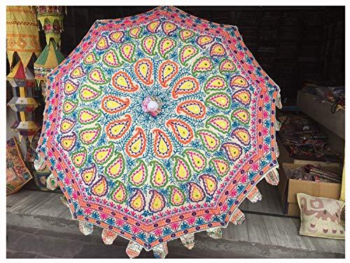 Hermoso paraguas de jardín blanco hecho a mano, hippie, decoración al aire libre, césped, boda, fiesta, sombrillas bohemias indias para bodas