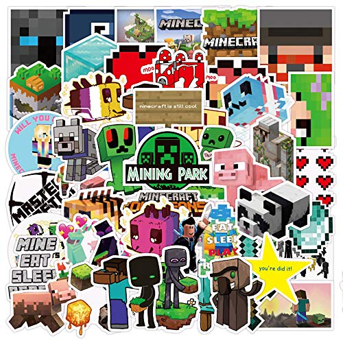 50 Pcs Cute Vinyl Game Sticker for Minecraft, Cartoon Waterproof Stickers for Xbox Ps4 Computer Laptop Waterboottle Hydroflasks Desk Wall Bike Car Bicyle, Stickers for Kids Teens Boys Girls.