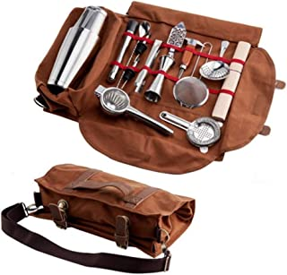 Bartender Kit Tote Bag,Portable Bar Sets Roll Bag,Bartender Kit Roll Bag,Home And Workplace Cocktail Making Waxed Canvas B...