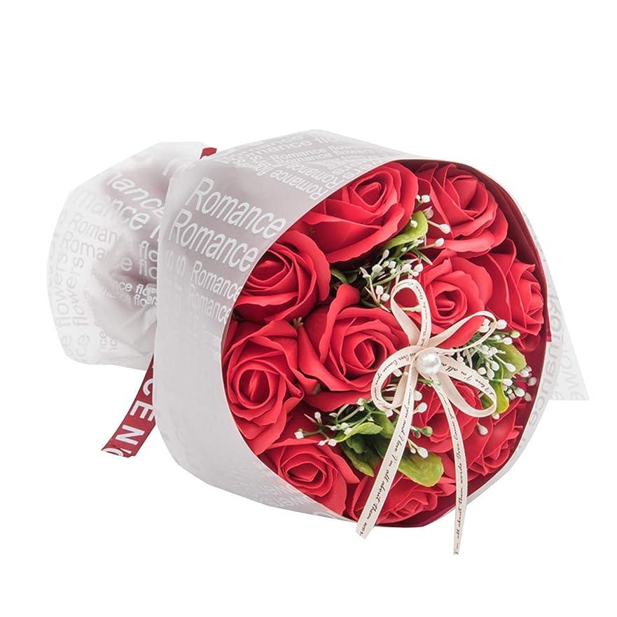 排泄する適切にパイントソープローズブーケ ソープフラワー フラワーソープ 花束 ブーケ 人気 プレゼント ギフト お祝い 誕生日 女性 母の日 父の日 (レッド)
