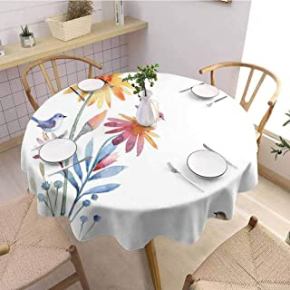 DILITECK Watercolor Picnic Round Tablecloth Springtime Flowers with Birds Unusual Color Scheme Brush Effect Table Decoration D70 Slate Blue Amber Levander