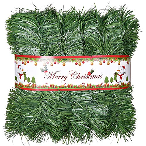 Artiflr 33Ft Christmas Garland, Artificial Pine Garland Holiday Decor for Outdoor or Indoor Home Garden Artificial Green Greenery, or Fireplaces Holiday Party Decorations