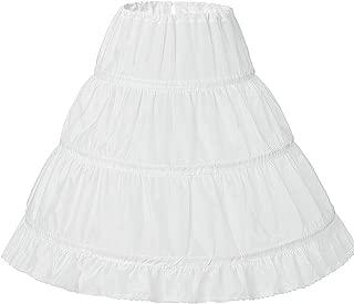 Girls' 3 Hoops Petticoat Skirt Flower Girl Crinoline Skirt For 2-13Years