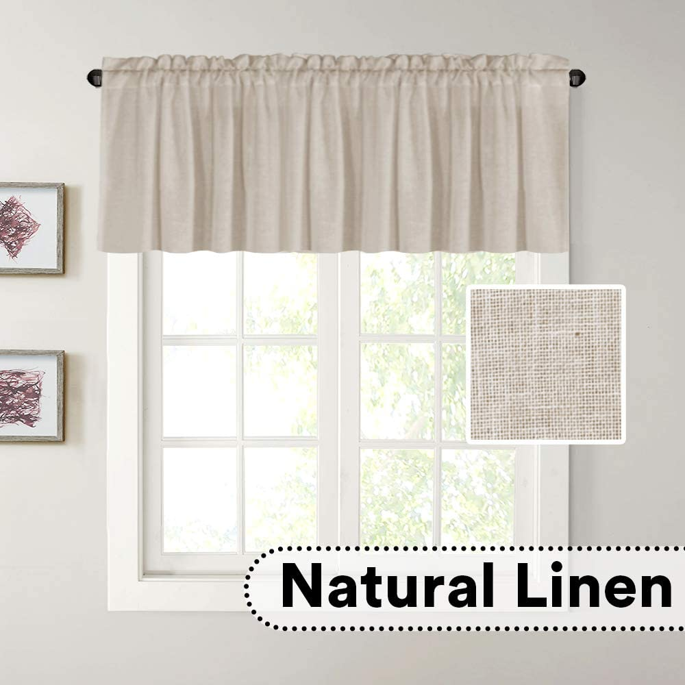 2 Panels Off White H Versailtex Natural Linen Kitchen Curtains 24 Inch Length Textured Flax Curtain Tiers For Bathroom Kitchen Windows Rod Pocket Small Curtains For Kitchen Home Decor Window Treatments Lpracing Com