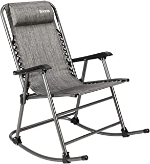Bonnlo Zero Gravity Rocking Chair Patio Lawn Chair, Beach Reclining Folding Chairs, Outdoor Portable Recliner for Camping Fishing Beach