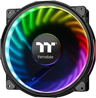 Thermaltake CL-F070-PL20SW-A Riing Plus 20 RGB TT Premium Edition بدون وحدة تحكم 200 ملم مجموعة لمبات LED دائرية ومعمرة بالبراغي (24 مصباح LED قابل للتعديل) RGB حافظة Ring/مروحة الرادياتير ، أسود