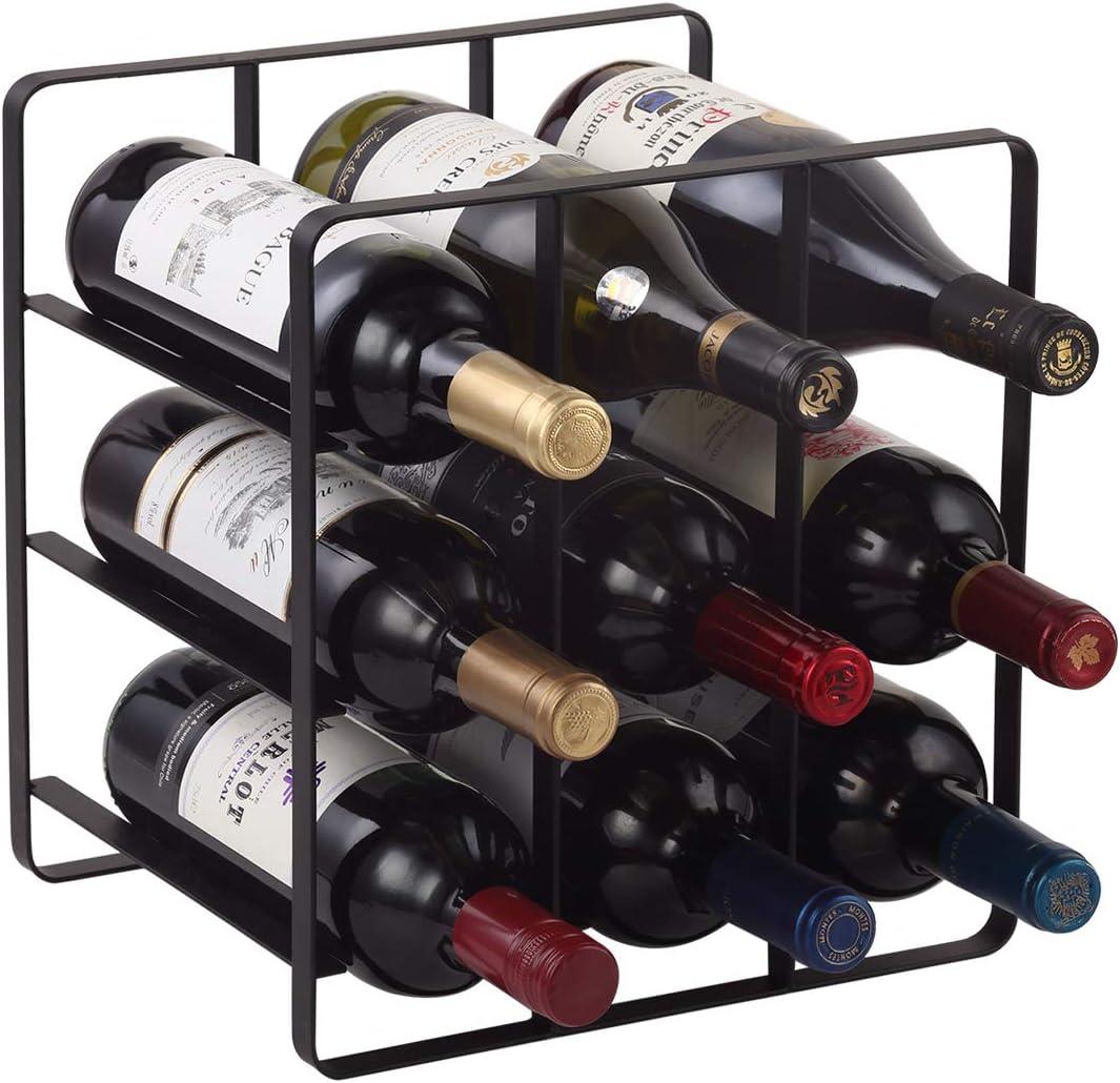 Buruis 9 Bottles Metal Wine Genuine Bo Brand new Free-Standing Cabinet Rack Water