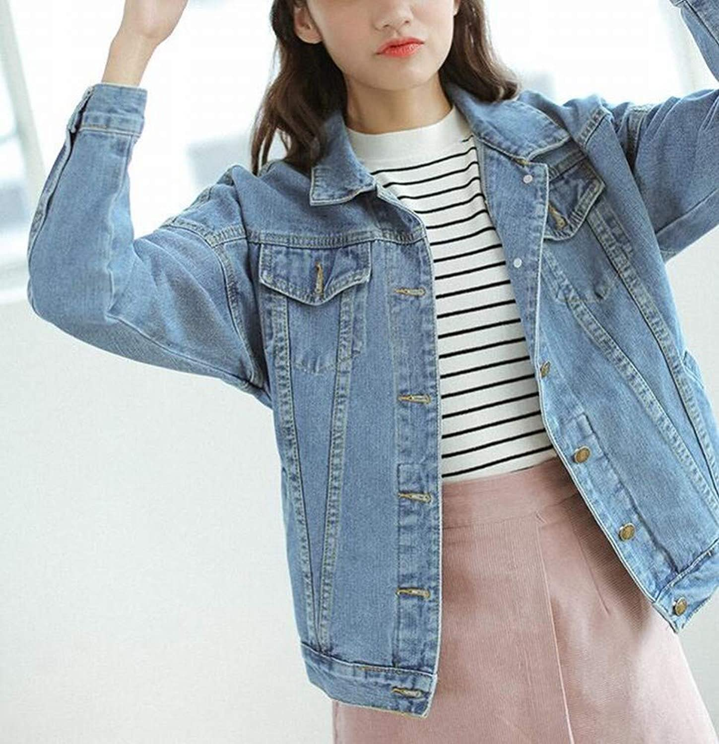 Denim Jacket Spring and Autumn Female Loose Student bf Jacket Shirt Girl Jeans,bluee,S DEED