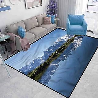Lake Floor mat for Office Chair Carpet Mont Blanc Alps France Elegant Luxury Soft Carpet Living Room Bedroom Baby Room Rug W5 x L7 Feet