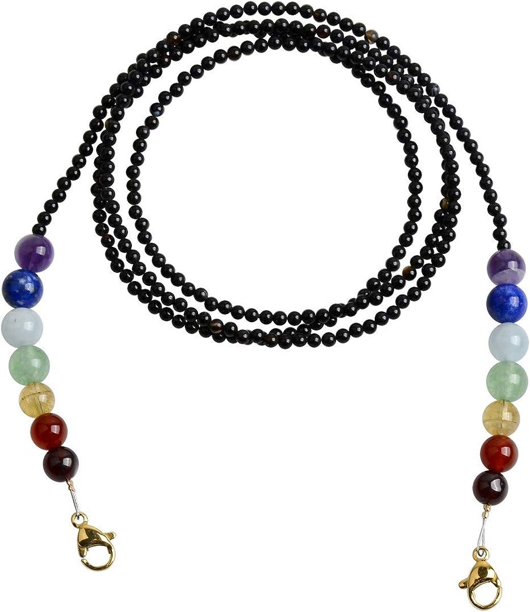 Qordelia Natural Black Onyx with 7 Kinds Natural Gem 7 Chakras Bead Necklace Bracelet Eyeglass Chains for Kids Women Men