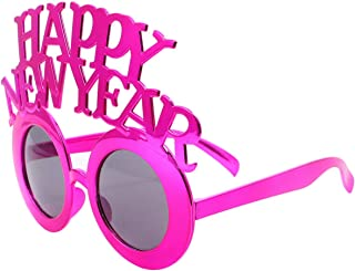 KESYOO Happy New Year Eyeglasses 2021 Party Sungalsses Dress Up Eyewear Props Novelty Glasses for 2020 New Year Eve Party Supplies Rosy