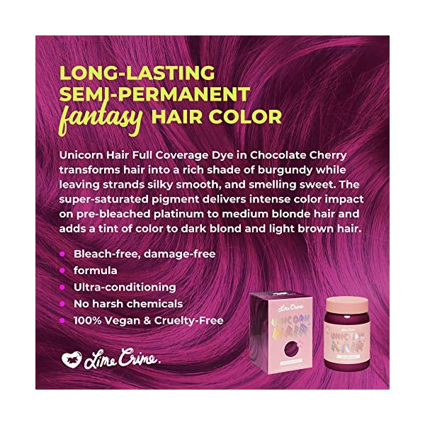 Lime Crime Unicorn Hair Dye, Chocolate Cherry - Deep Burgundy Red Hair Color - Full Coverage, Ultra-Conditioning, Semi-Permanent, Damage-Free Formula - Vegan - 6.76 fl oz 5