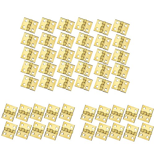 RZDEAL 50個 ミニ真鍮蝶番金具 180度回転 ドールハウスミニチュア家具キャビネットクローゼット用 (DIY)