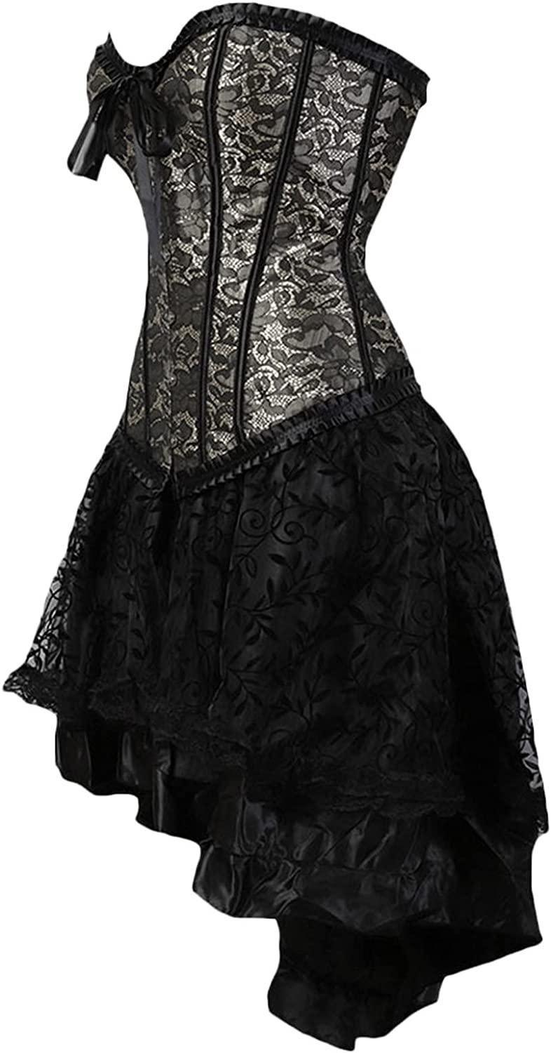 Dress for Women Fall, Classic Leaf Lace Adjustable Court Shaped Identity Suit Flocking Luxury Long Skirt