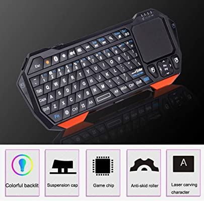 XSYYQYLL Bluetooth-Tastatur Drahtlose tragbare Mini-Bluetooth-Tastatur mit Touchpad for Windows Android IOS for PC oder Telefon  Color Black