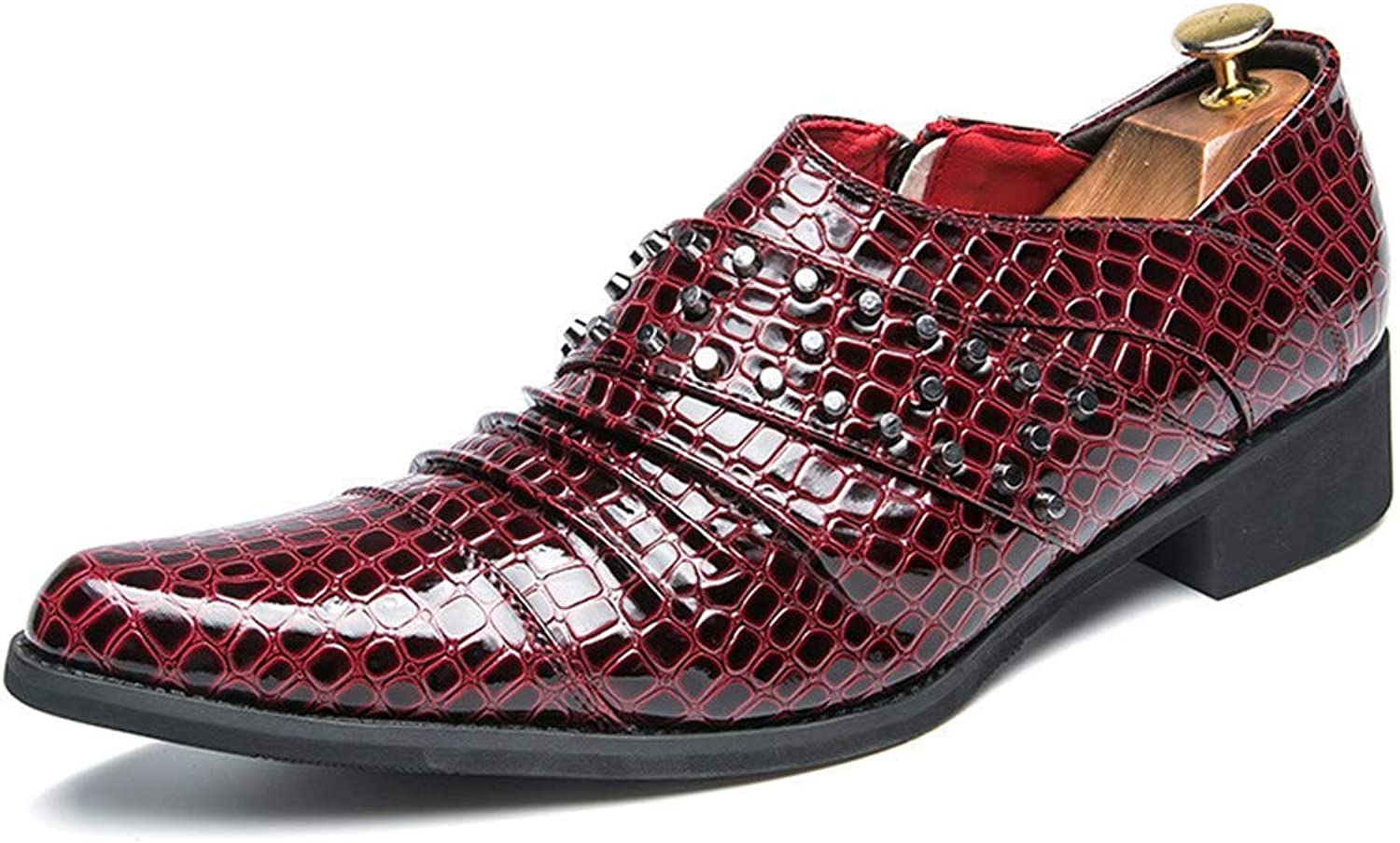 2018 Men Business Oxford Casual Personalized Rivet Fashion Anke Pattern Formal shoes (color  Red, Size  38 EU) (color   Red, Size   41 EU)