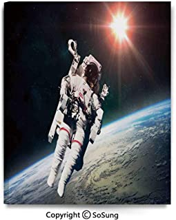 Canvas Wall Art Astronaut Man Floating Over Earth with Powerful Sun Beams in Background Image Print Home Decorations for Bedroom Living Room Oil Paintings Canvas Prints Framed 24x30inch Orange Grey