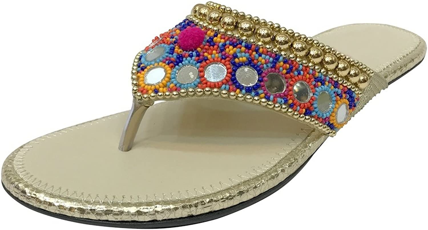 Step n Style Flat Beaded Sandals Ethnic Sandals Flat Sandals Flat Flip Flops Jutti