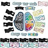 Carteles de Growth Mindset Set de Tablero de Anuncios Posters Motivacionales de Change Your Mindset Cartel Inspirador de Refranes Positivos Decoración de Cartel de Aula para Sala de Juegos