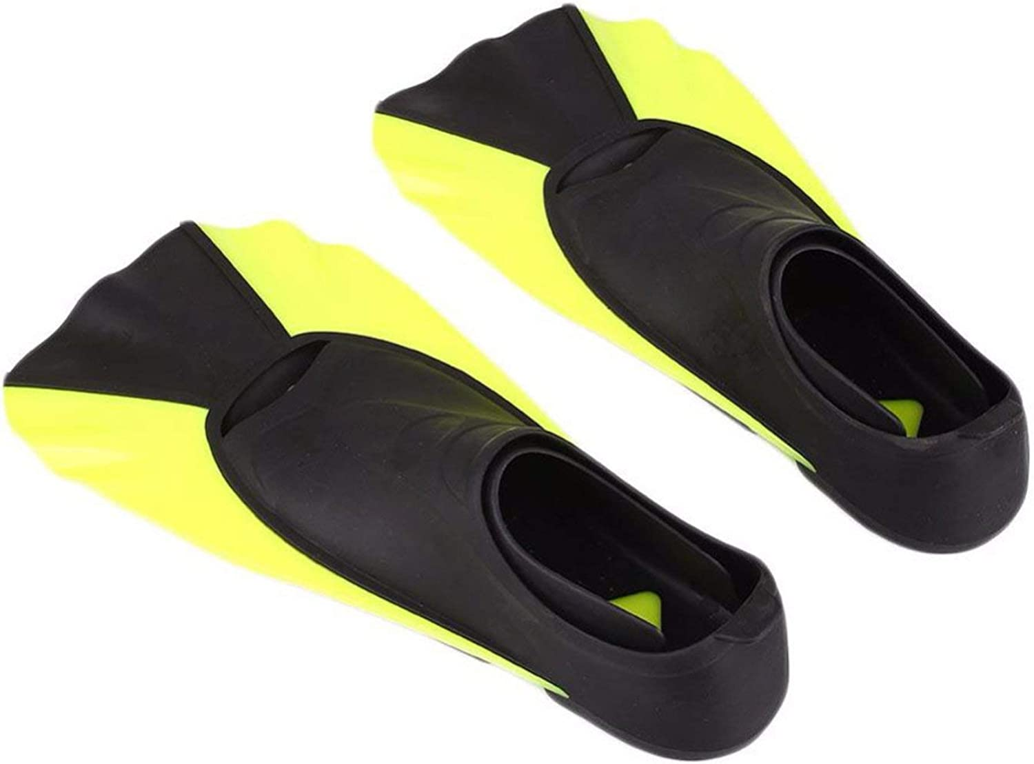 ALWAYS ME Adult Kids Short Fins Snorkeling Swimming Diving Flippers Portable Frog shoes Swimming Fins,Light Yellow,M