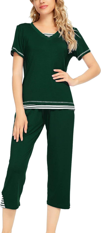LecGee Women's Pajama Set Long Raglan Sleeve Sleepwear Pjs Sets Nightwear Lounge Set with Pocket