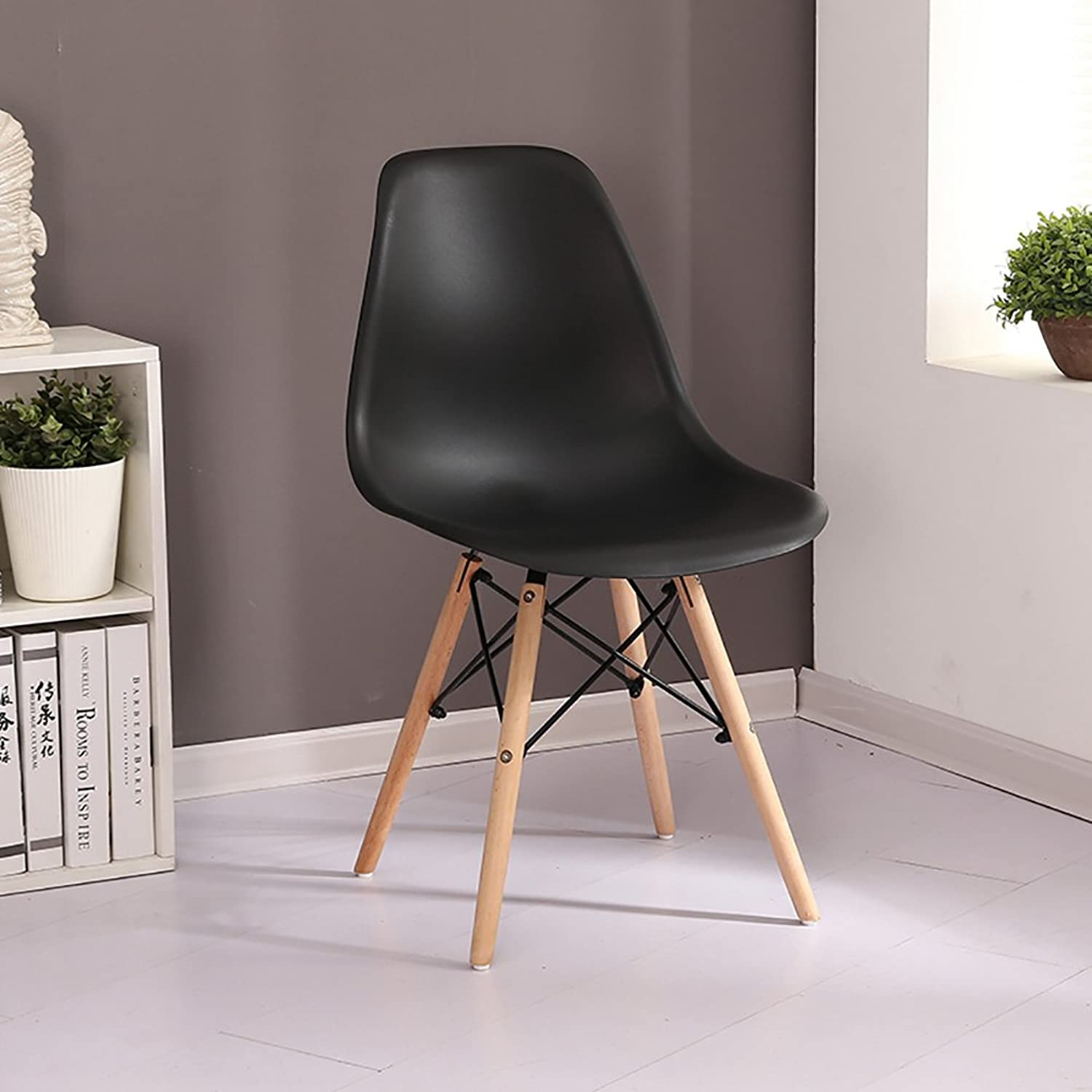 ALUS- Eiffel Style Solid Wood Dining Chairs,PP Materials Living Room Office Espresso Backrest Chairs (color   Black, Size   41cmX39cmX41cm)