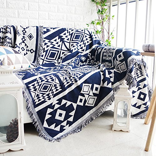 Dulcii Multi-function Decorative Throw Blanket Sofa Towel Cotton Warm Slipcover 130 x 180cm (Dark Blue and Beige Pattern)