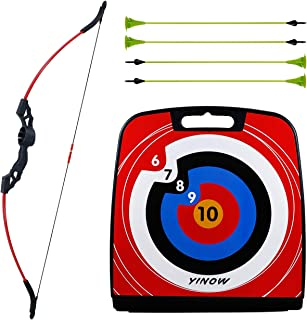 """SinoArt 47"""" Bow and Arrow Set for Teens with 4Pcs Sucker Arrows 1Pc Moving Target"""