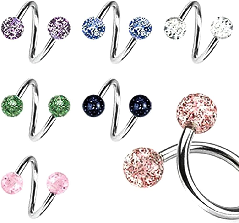 Body Accentz Belly Button Rings Lot of 6 Ultra Sparkle Spiral Twister Bar