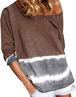 Fitfulvan Women's Tie Dyed Printed Long Sleeves Tops Loose Casual Pullover