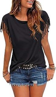 Womens Tassel Short Sleeve Round Neck T-Shirt Top Casual...