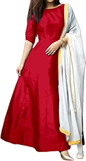 Lavish Fashion Women's Tapeta Silk Suit Piece Plain Long Gowns With Dupatta (Free Size)