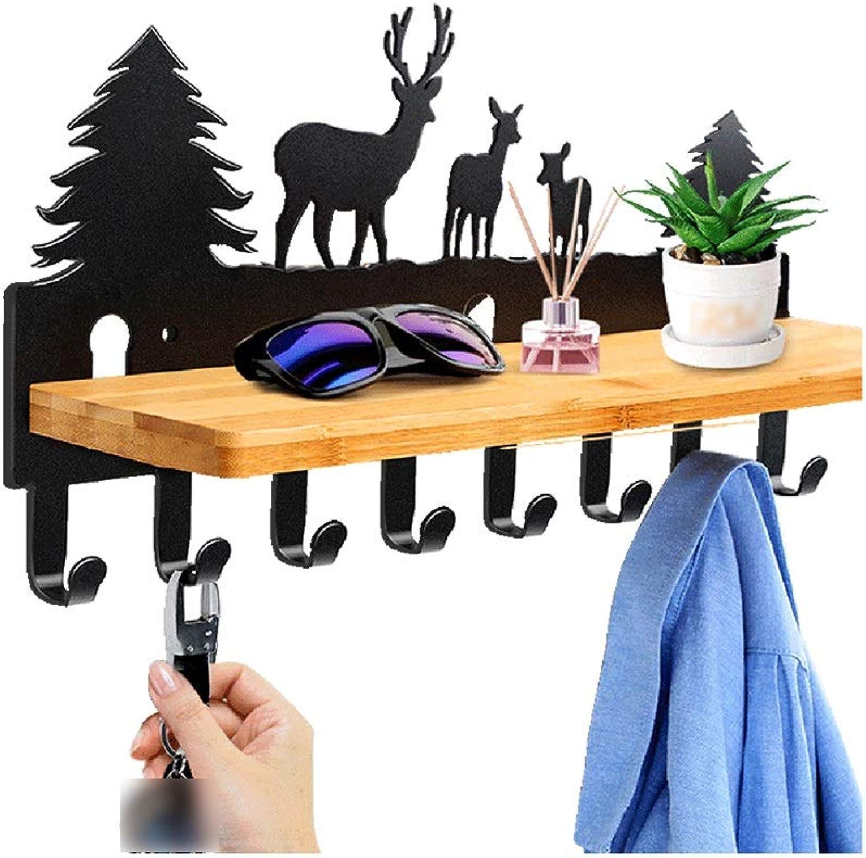 QFFL Coat Rack, Coat Hook, Wooden Wall Shelf with 8 Metal Hooks for Corridor Entrance Living Room Bedroom Kitchen Bathroom Wall Hanger