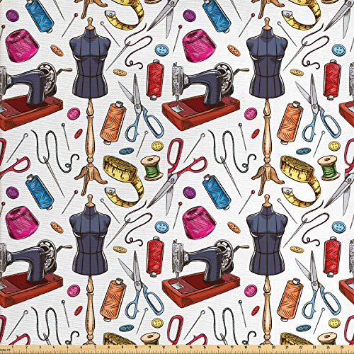 Lunarable Fashion Fabric by The Yard, Pattern with Cartoon Tailoring Equipment as Sewing Machine Thread and Tape Measure, Decorative Fabric for Upholstery and Home Accents, 2 Yards, Purpleblue Pink