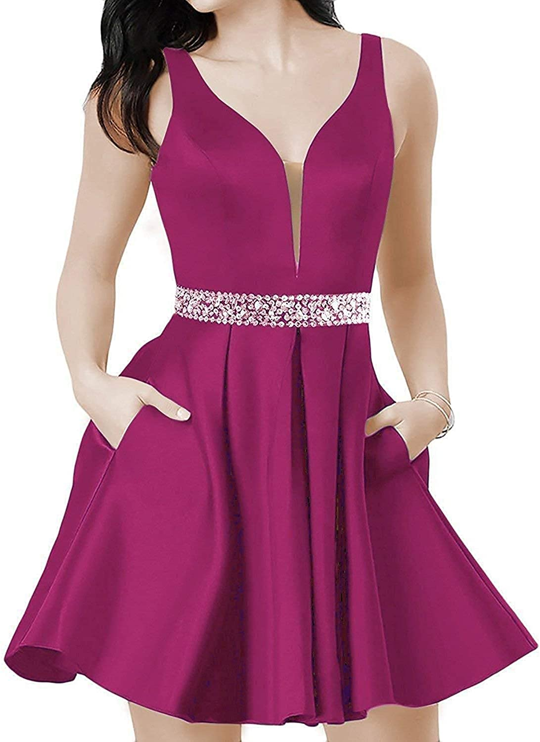 Macria Women's ALine Satin Homecoming Dresses with Beaded Short V Neck Prom Party Gowns